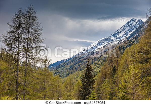 montagna, tempo piovoso, valle - csp34627054