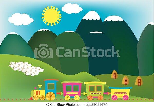 Montagna treno cartone animato paesaggio. montagna cartone