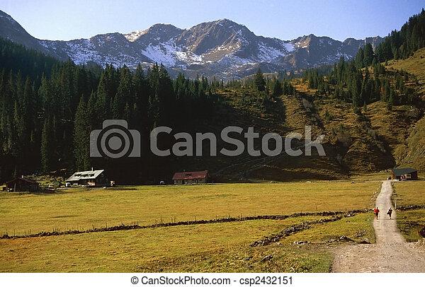montagna, treno, valle, andando gita - csp2432151
