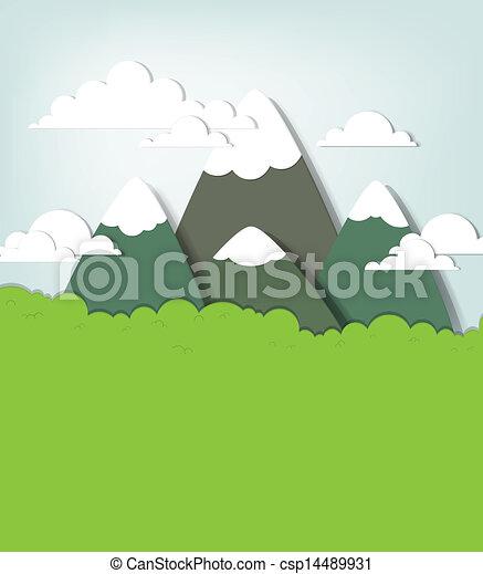 montagna, vettore, applique, paesaggio. - csp14489931