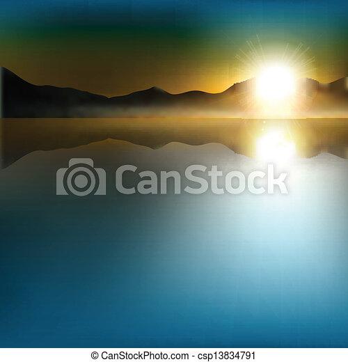 montagne, astratto, alba, fondo - csp13834791