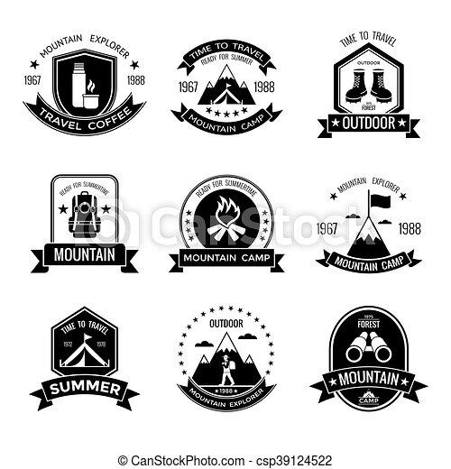 Montagne Blanc Camp Noir Emblèmes