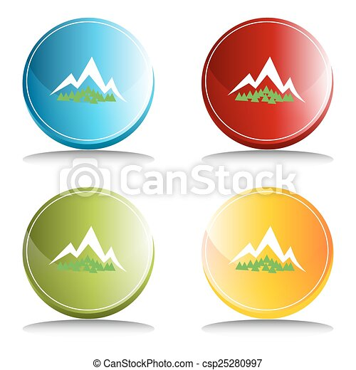 montagne, bouton, forêt - csp25280997