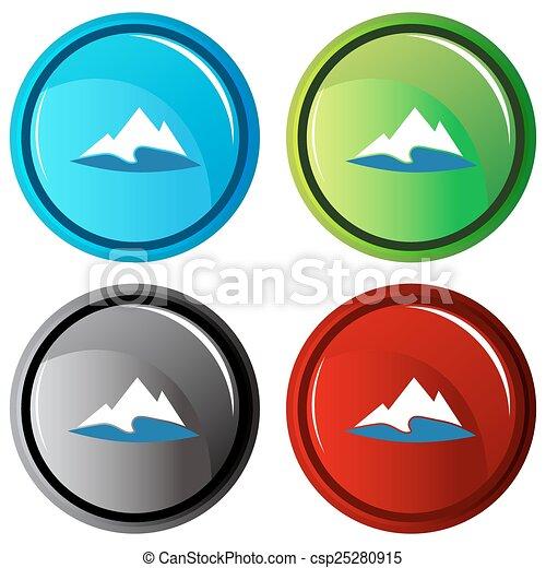 montagne, bouton, lac - csp25280915