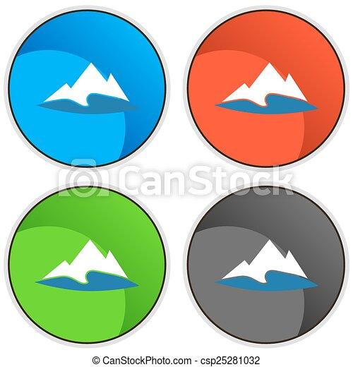 montagne, bouton, lac - csp25281032