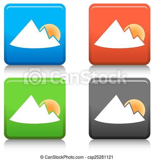 montagne, bouton, levers de soleil - csp25281121