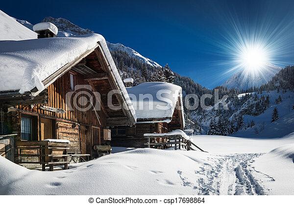 stock image de montagne chalet hiver tyrol neige autriche cabine csp17698864. Black Bedroom Furniture Sets. Home Design Ideas