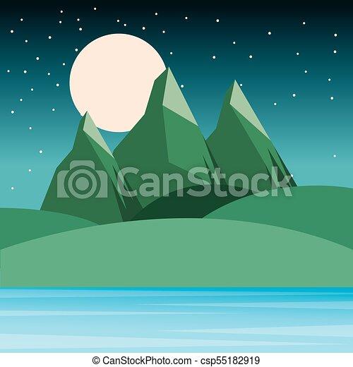 Montagne Colline Cielo Stellato Luna Notte Paesaggio Montagne