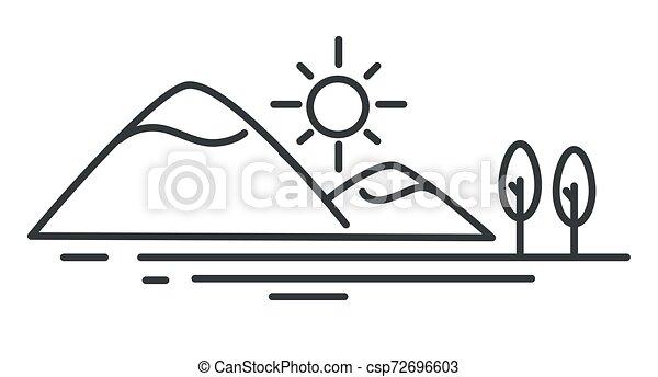 montagne, croquis, contour, océan, côte, mer, paysage - csp72696603