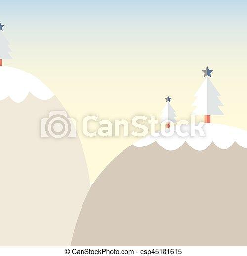 Montagne Dessin Anime Arbre Neige Noel