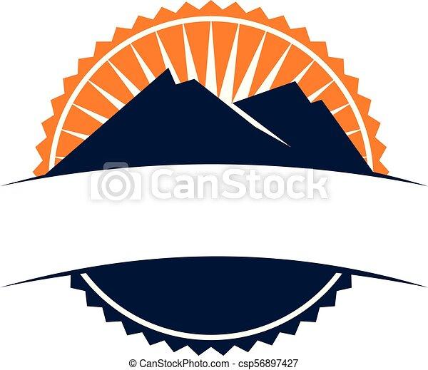 montagne, emblème, gabarit, vide - csp56897427