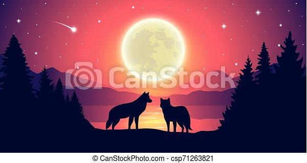 montagne, entiers, pourpre, ciel étoilé, lac, deux, loups, lune, paysage - csp71263821