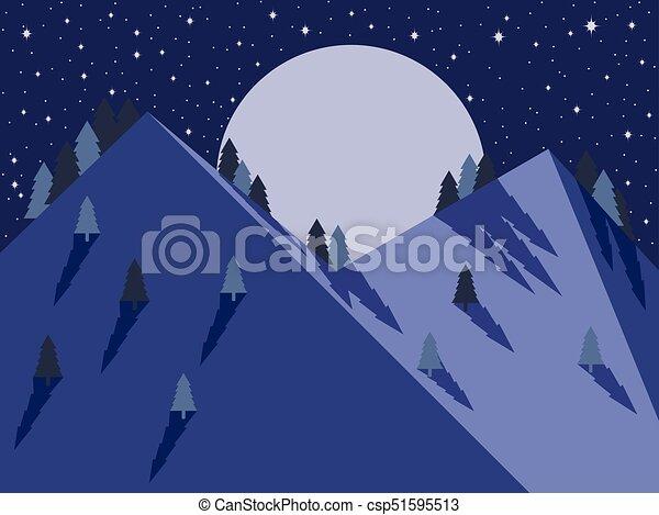 montagne, entiers, sky., lune, étoilé, plat, vecteur, illustration, nuit, style., paysage - csp51595513