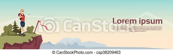 montagne, femme, rucksack, randonneur, colline, fond, voyageur, bannière, stand - csp38209463
