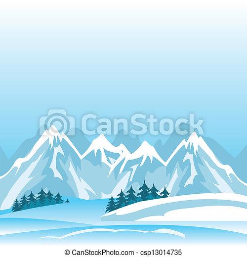 montagne, hiver - csp13014735