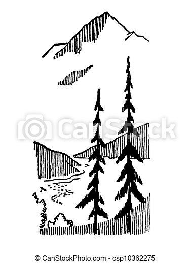 montagne hiver vendange image version noir blanc. Black Bedroom Furniture Sets. Home Design Ideas