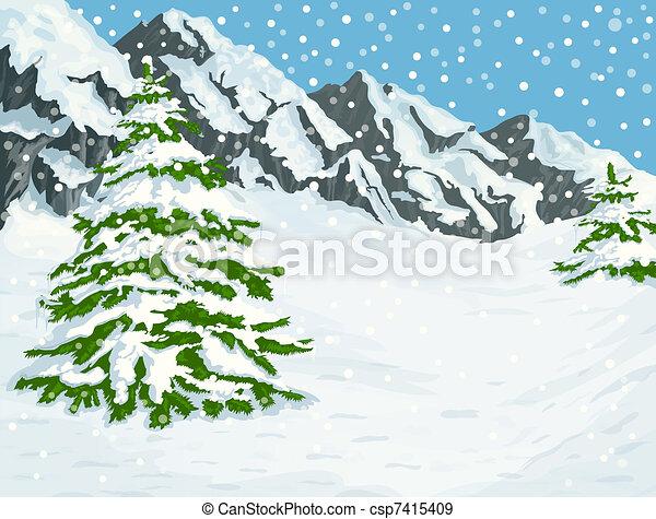 montagne, inverno - csp7415409