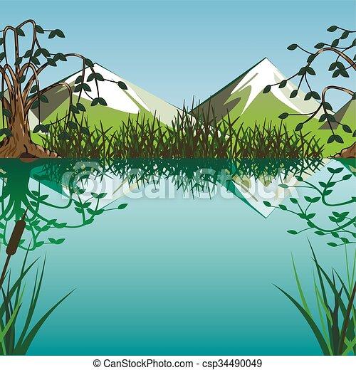 Montagne lago fondo montagne fondo lago fondo for Lago disegno