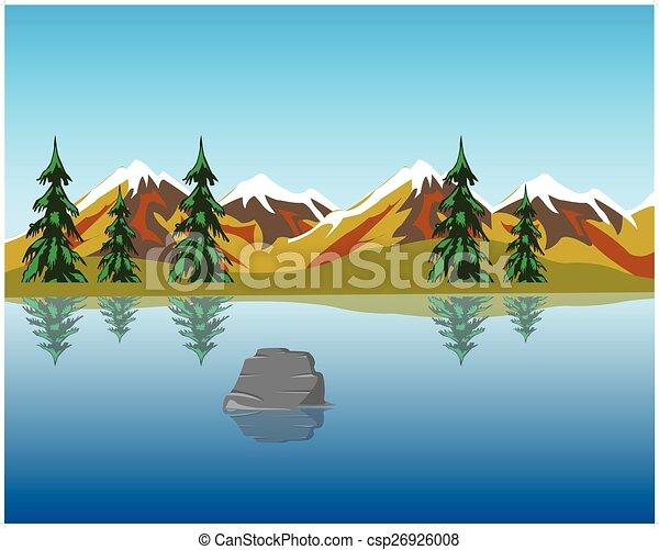 Montagne lago bello lago montagna illustrazione wood for Lago disegno