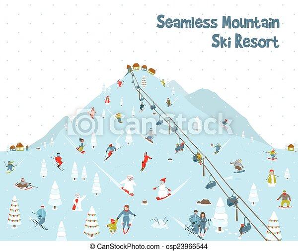 montagne, modèle, seamless, recours, frontière, dessin animé, ski - csp23966544