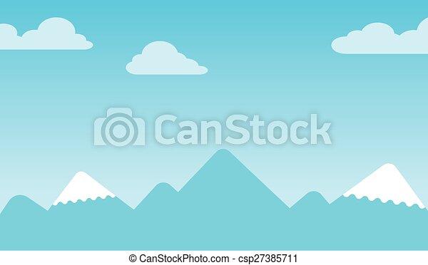 montagne, peaksmountain, neige-couvert, fond, crêtes - csp27385711