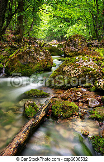 montagne, rivière, profond - csp6606532