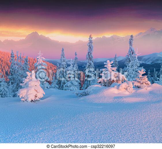 montagne., scena, inverno, colorito, hight - csp32216097