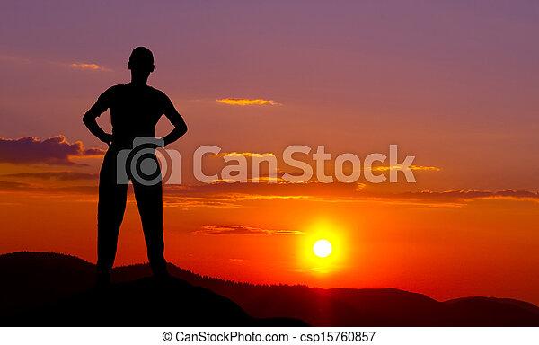 montagne, silhouette, tramonto - csp15760857