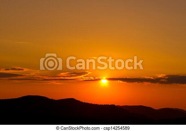 montagne, silhouette, tramonto - csp14254589