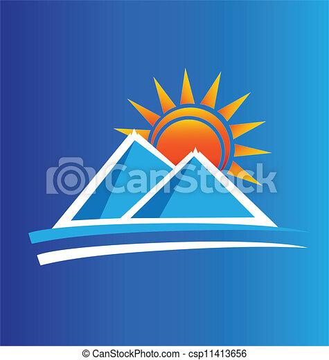 montagne, sole, vettore, logotipo - csp11413656