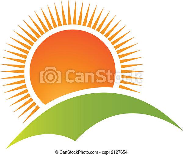 montagne, soleil, logo, vecteur, colline - csp12127654