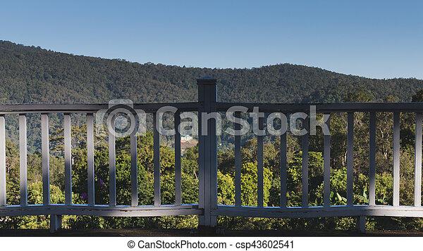 Montagne Terrasse Bois Colline Blanc Vue Balcon