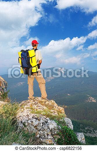 montagne, touriste, homme - csp6822156