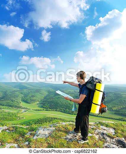 montagne, touriste, homme - csp6822162