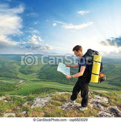 montagne, touriste, homme - csp6823029