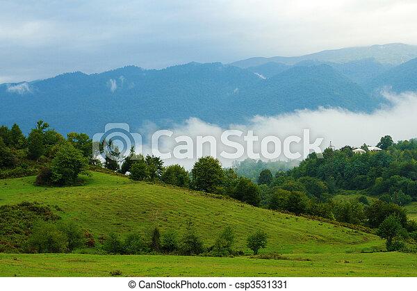 montagnes, brouillard, paysage, vue - csp3531331