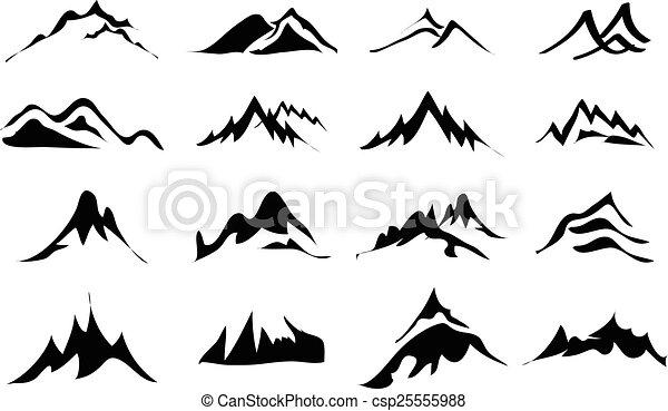 montagnes, ensemble, icônes - csp25555988