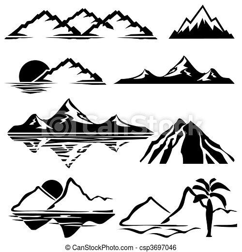 montagnes, icônes - csp3697046