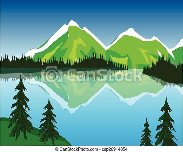 montagnes lac beau lac montagne illustration clipart vectoriel rechercher illustration. Black Bedroom Furniture Sets. Home Design Ideas
