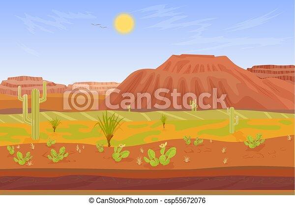 Montagnes Prairie Cactus Dessin Anime Canyon Arbre Rochers