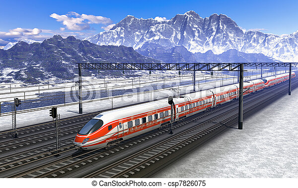 montagnes, train, élevé, station, chemin fer, vitesse - csp7826075