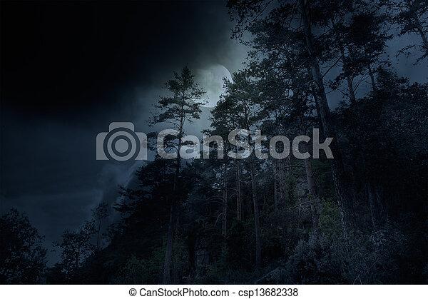 montagnes, une, nuit - csp13682338