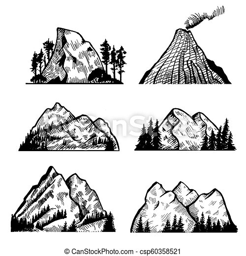 montagnes, vecteur, rocks., collection - csp60358521