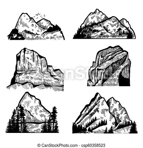 montagnes, vecteur, rocks., collection - csp60358523