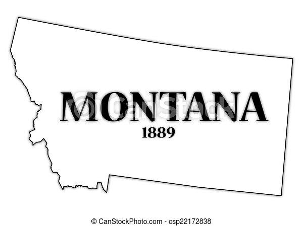 vectors of montana state and date - a montana state outline with