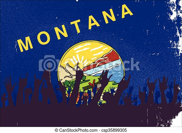 Montana State Flag with Audience - csp35899305