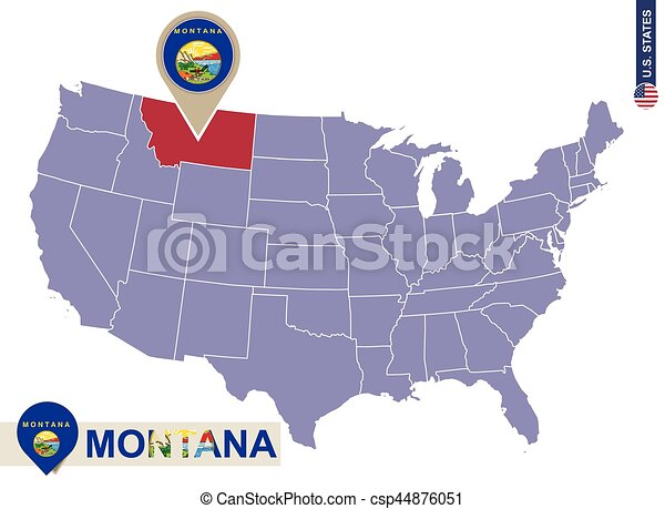 Montana State On USA Map Montana Flag And Map US States Clipart - Us map vector free