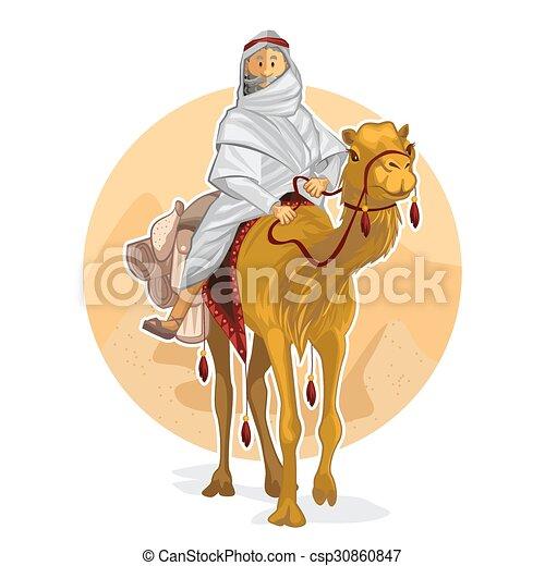 montando, árabe, beduíno, camelo - csp30860847