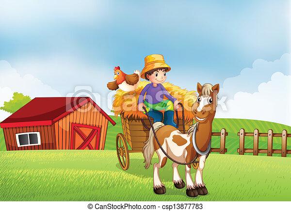 montando, carruagem, agricultor - csp13877783