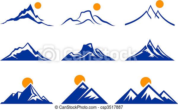 montanha, ícones - csp3517887